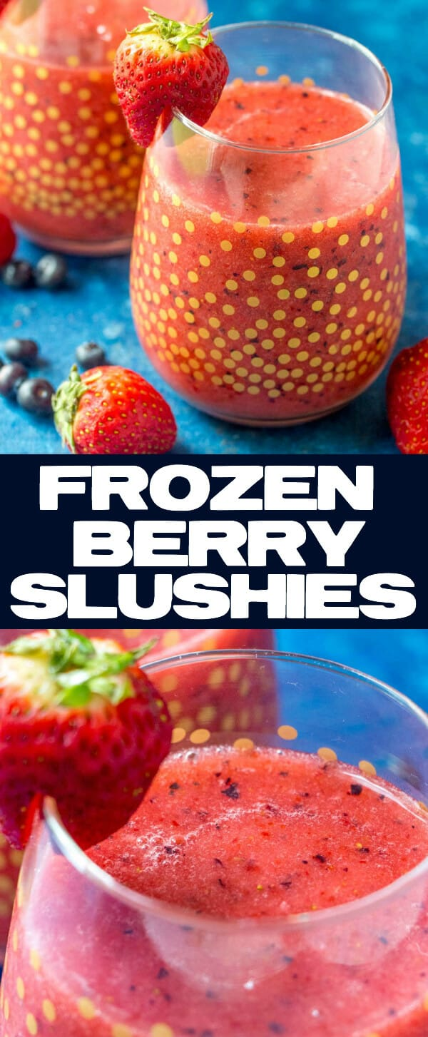 These Frozen Berry Slushies are full of strawberries, blueberries, lemon-lime soda and are an easy and deliciously refreshing way to cool down this spring and summer season. Family friendly and whips up in minutes! #frozen #strawberry #blueberry #drinks #summer