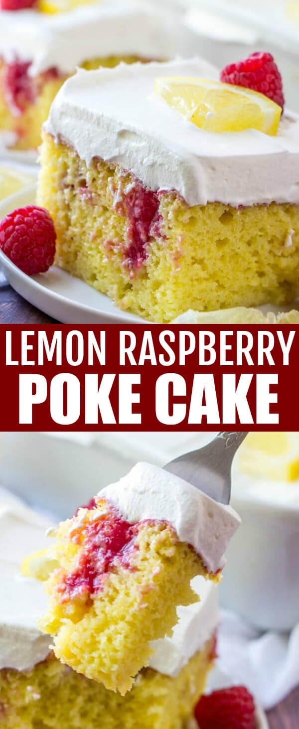 This Lemon Raspberry Poke Cake is full of tart lemon and raspberry flavors using a homemade raspberry sauce. Topped with whipped topping and super moist, this easy cake is a fun and flavorful spring and summer dessert. #cake #pokecake #raspberry #raspberrysauce #dessert #lemon #potluck #picnic