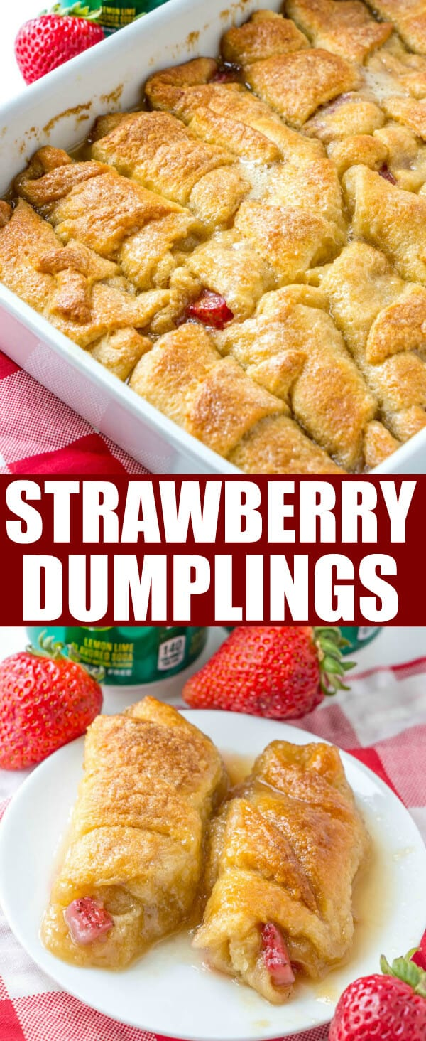 These crescent roll Strawberry Dumplings is a fun and easy dessert recipe that is perfect for the summer months! Easy and delicious this is a family favorite. #strawberry #strawberries #desserts #crescentrolls