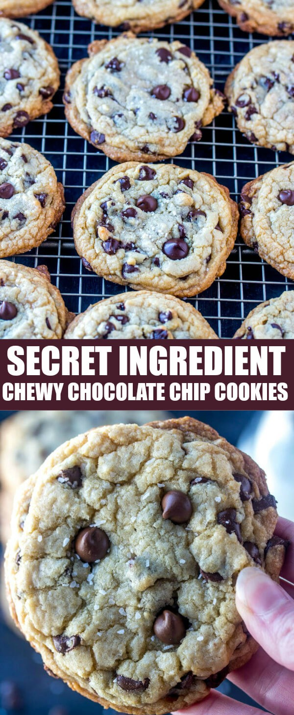 You'll fall head over heals for my Chewy Chocolate Chip Cookies that have a You'll fall head over heals for my Chewy Chocolate Chip Cookies that have a secret ingredient baked right in! Once you try them you'll never want to go back to any other recipe! #cookies #chocolatechip #secretingredient #baking #chocolate #dessert
