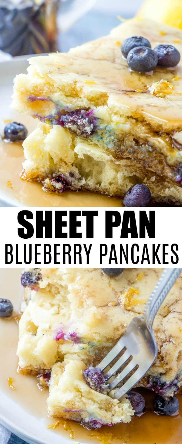 Want a delicious and fluffy yet fruity breakfast with less hassle? These Sheet Pan Blueberry Pancakes are a quick and easy solution to all your morning needs. #pancakes #breakfast #blueberry #morning #foodie #kidfriendly #easyrecipe