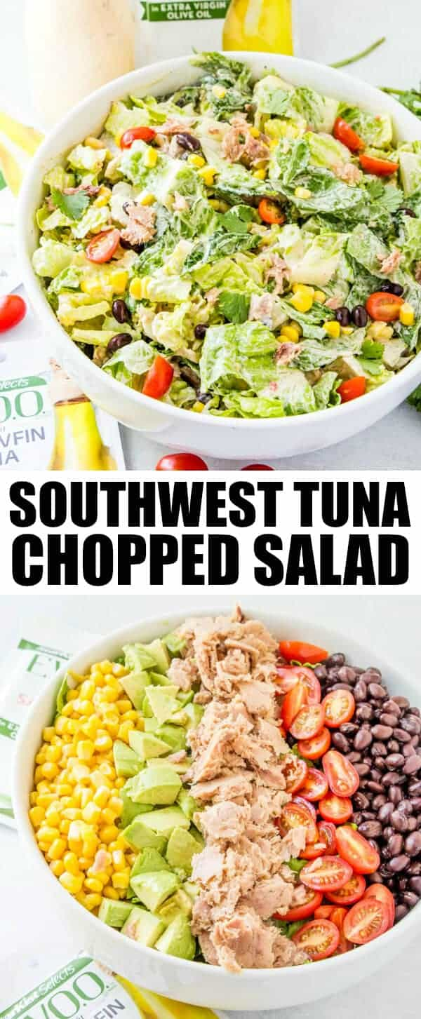 AD Fresh, flavorful and delicious this Southwest Tuna Chopped Salad is a perfect summer meal that combines fun southwest flavors with a spicy kick to each bite. #salad #tuna #seafood #summer #avocado #tomatoes #choppedsalad #refreshing