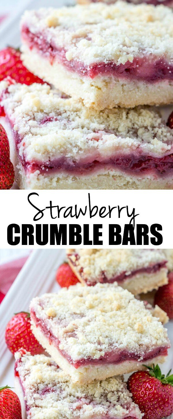 Easy, fresh and flavorful these Strawberry Crumble Bars are a fun and simple dessert that are filled with sweet strawberry flavors and a crumble topping. #strawberry #bars #dessert #easydessert #baking #baker #fresh