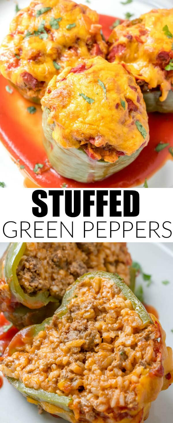 Easy, filling and delicious these Stuffed Green Peppers are a simple supper recipe that uses minimal ingredients and gets on the dinner table fast! #peppers #stuffedpeppers #groundbeef #rice #dinnertime #easymeal #quickrecipe