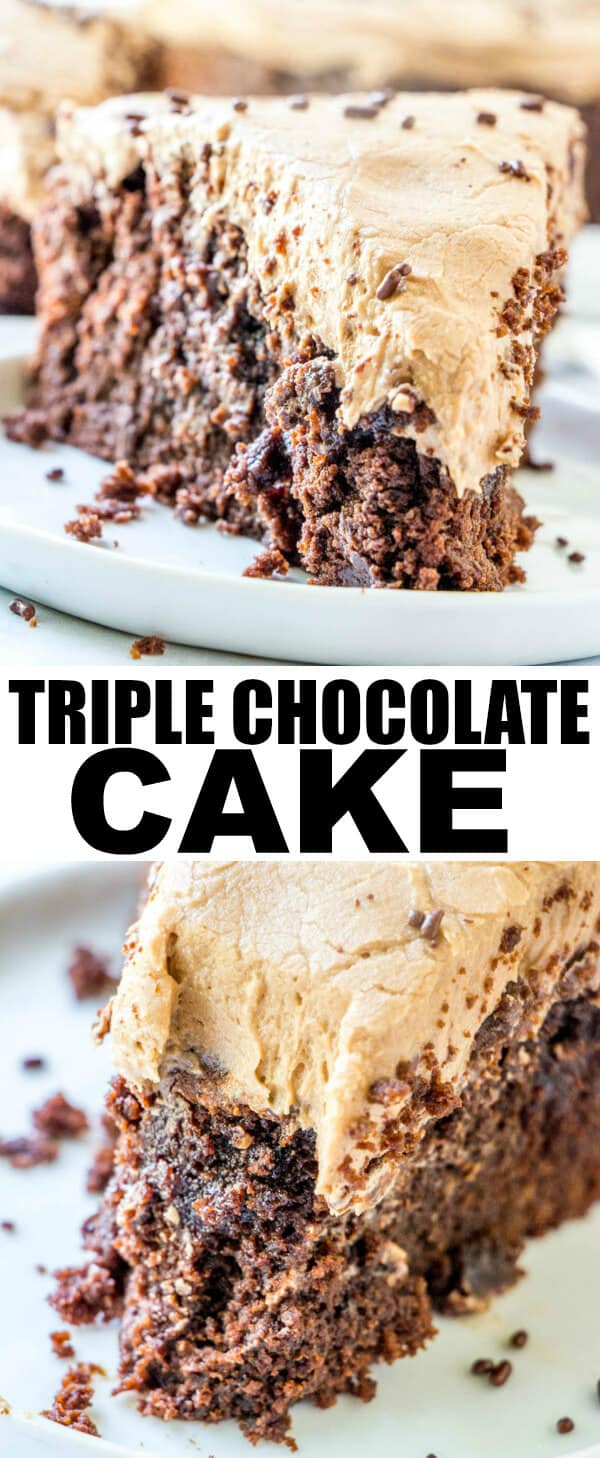 Easy, moist, rich and dense this Triple Chocolate Cake has 3 layers of chocolate flavors that will make your mouth water with each and every bite. #baked #chocolate #cake #chocolatecake #baking #dessert #milkchocolate #buttercream