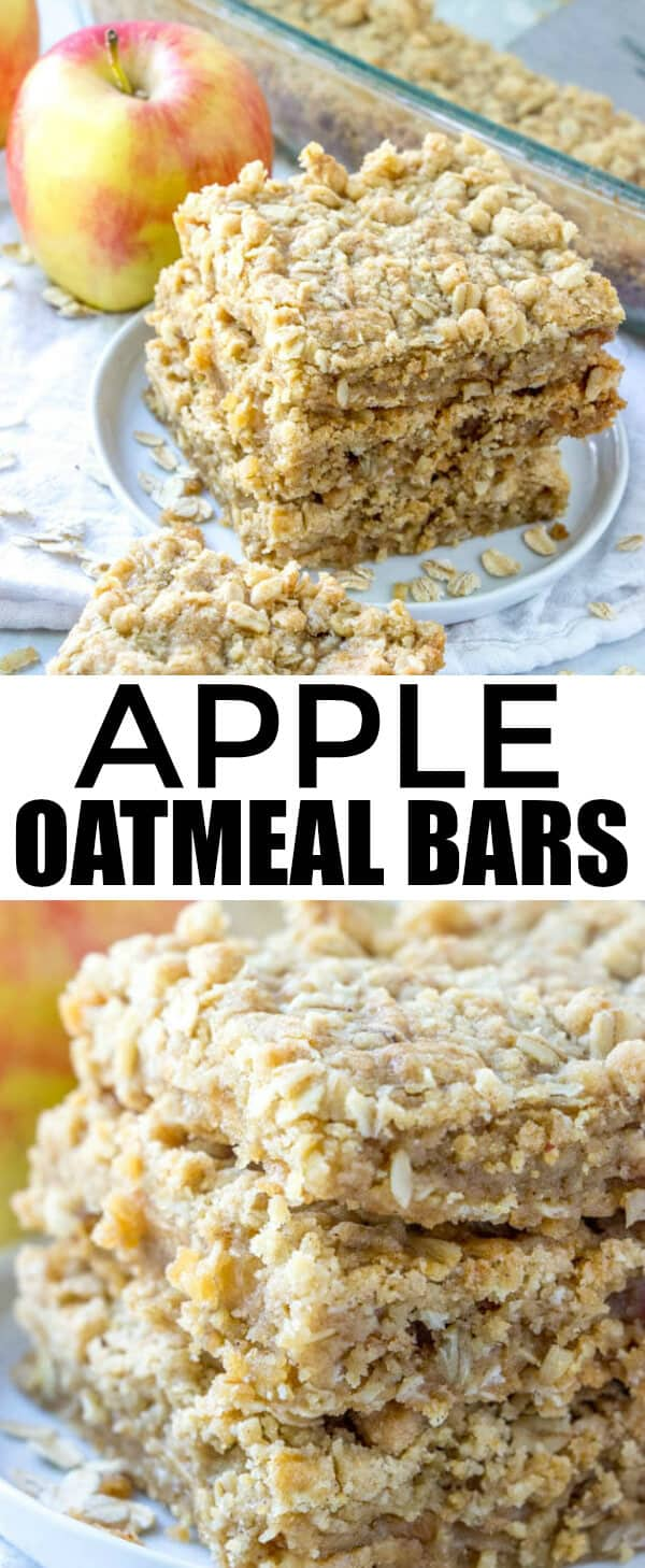 If you love apple crisp you'll adore these Apple Oatmeal Bars! Full of oats, cinnamon and apples these bars a quick, easy and full of flavor! #apples #fallbaking #oatmeal #bars #dessert #oats #applecrisp
