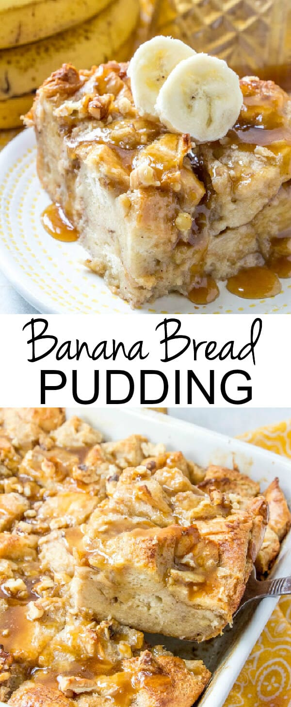 Warm, gooey and full of banana bread flavor this Banana Bread Pudding is a fun and easy breakfast or dessert treat that is hard to resist! #bananabread #banana #breadpudding #breakfast #tasty #caramel #caramelsauce