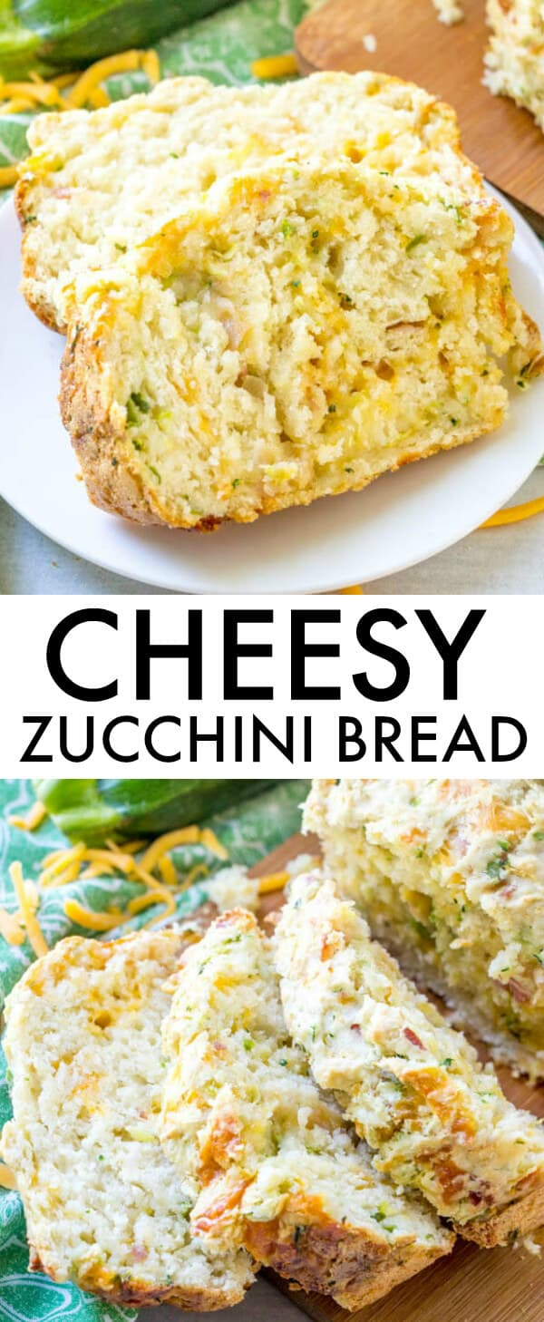 Full of cheese, bacon and green onions this Cheesy Zucchini Bread is a delicious addition to any meal or just to eat as is! #bread #zucchini #zucchinibread #bacon #cheesy #quickbread #cheddar