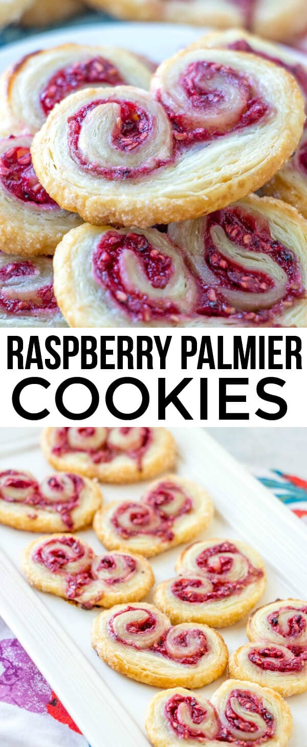 Delicious, easy and fun these Raspberry Palmiers are made with puff pasty, fresh raspberries and sugar and baked up until golden. #palmeir #palmiers #raspberry #cookies #puffpastry