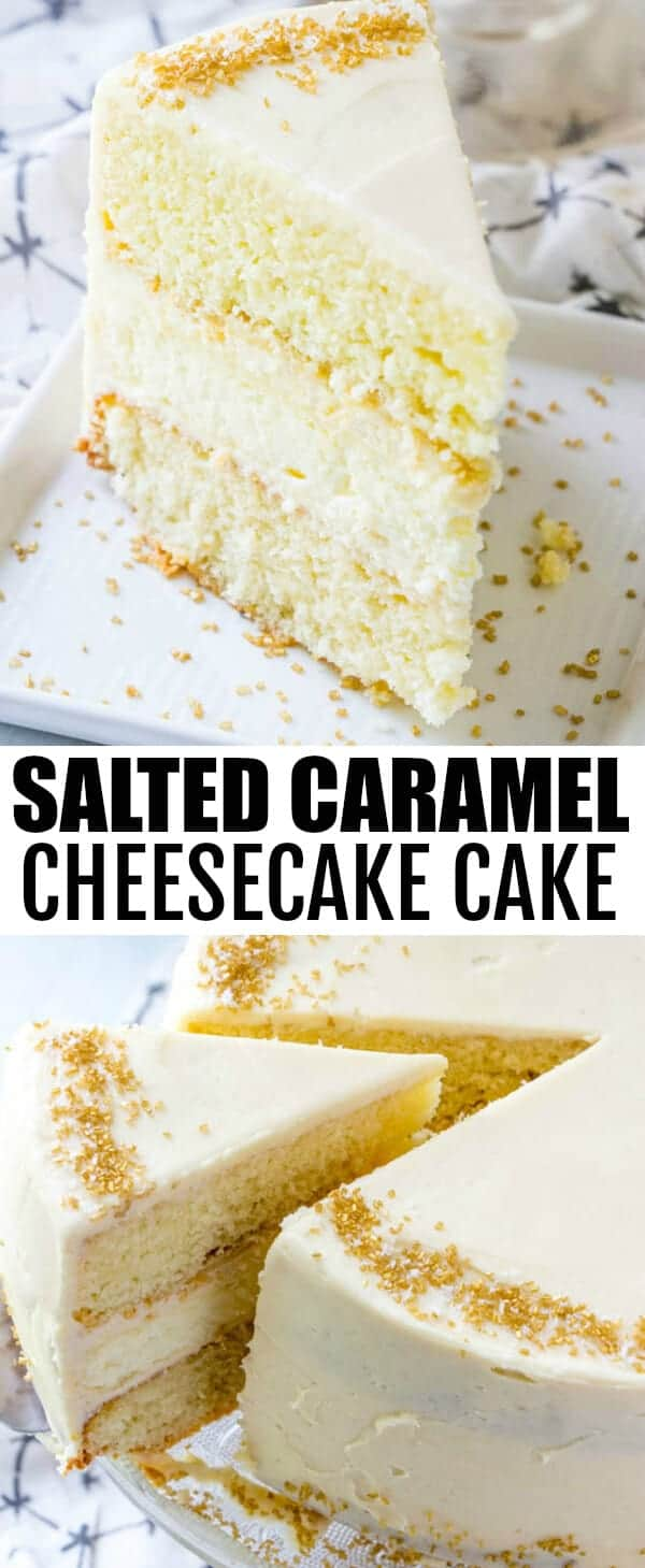 A rich and creamy cheesecake is layered with a moist and light vanilla cake and frosted with an addicting salted caramel buttercream in this Salted Caramel Cheesecake Cake! #cake #cheesecake #cheesecakecake #saltedcaramel #vanilla #layercake #buttercream