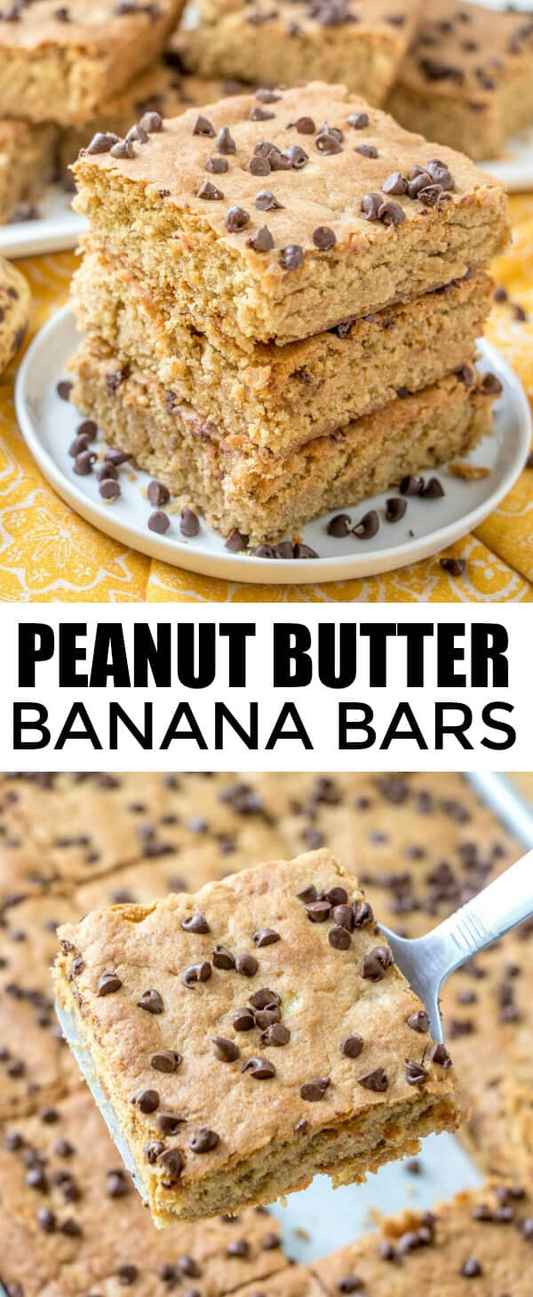 Peanut butter and banana go hand in hand with these easy and flavorful Peanut Butter Banana Bars! Quick, kid-friendly and addicting. #bars #banana #peanutbutter #blondies #chocolatechips #easyrecipe #baking #bananapeanutbutter