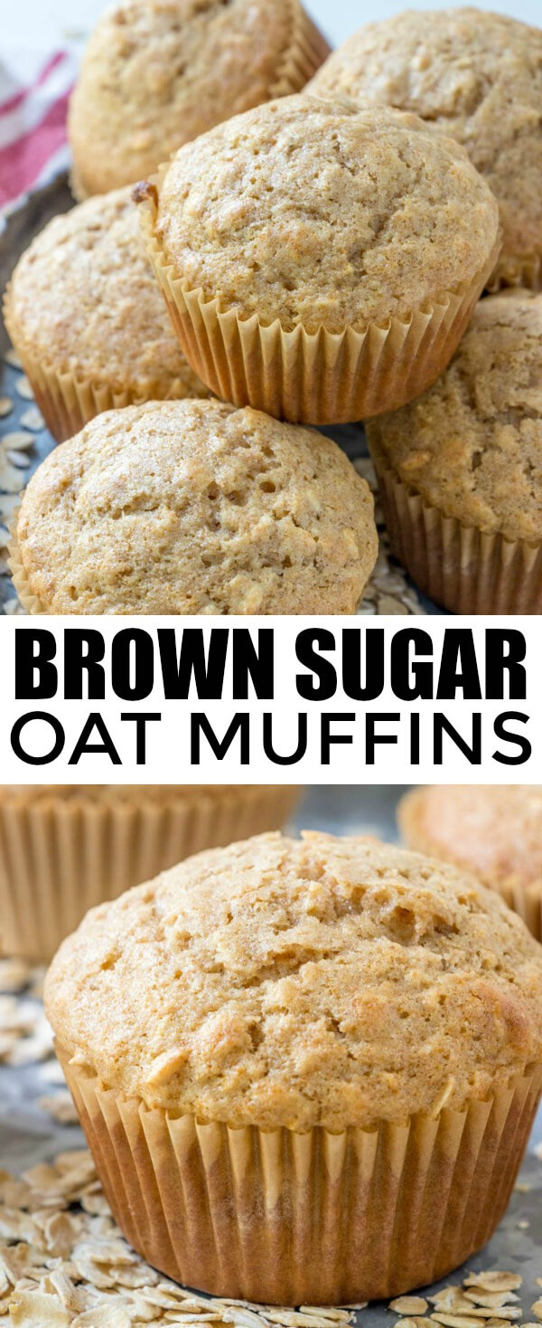 Quick, easy, delicious and perfect for an on-the-go morning breakfast, these Brown Sugar Oat Muffins are a great and hearty grab and go snack! #muffins #muffin #breakfast #oatmeal #oats #wholewheat #easyrecipe #kidfriendly #brownsugar