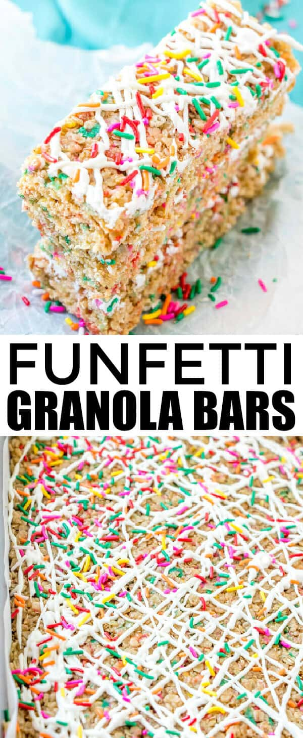 Easy, addicting and fun these Funfetti Granola Bars are a kid-friendly breakfast or snack recipe that is quick and flavorful!