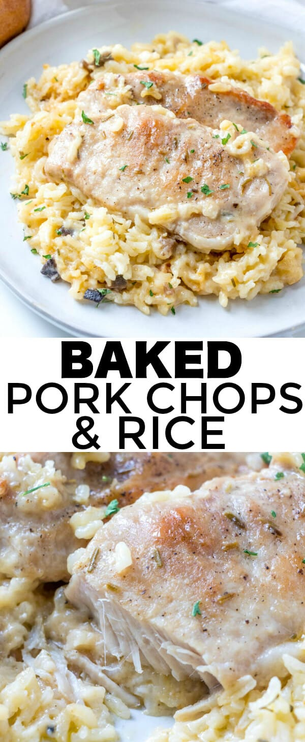 Easy, herby and flavorful this Baked Pork Chops & Rice recipe is a fork tender, filling dinner recipe that the whole family can and will enjoy. #pork #porkchops #rice #herbs #porkchoprecipe #weeknightdinner #soup #porkrecipe