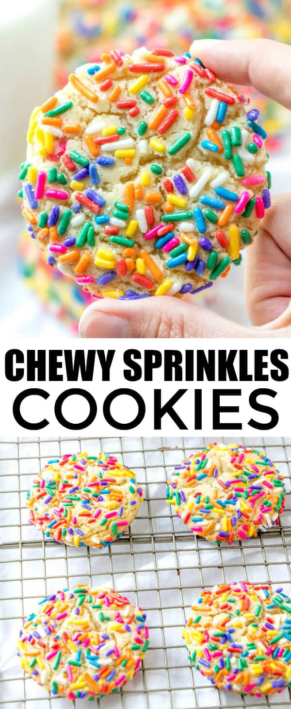 Super easy, colorful and fun these Chewy Sprinkles Cookies are a great treat for the kid or the kids at heart. Super soft and flavorful, you cant go wrong! #cookies #sprinkles #baking #colorful #kidfriendly #tasty #yummy
