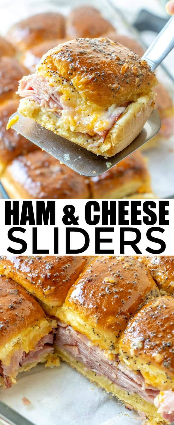 Quick, easy, filling and delicious these Ham and Cheese Sliders are a family favorite that goes a long way, full of ham, shredded cheese and a sweet topping. #sandwiches #sliders #ham #cheese #hamandcheese #partyfood #easyrecipe