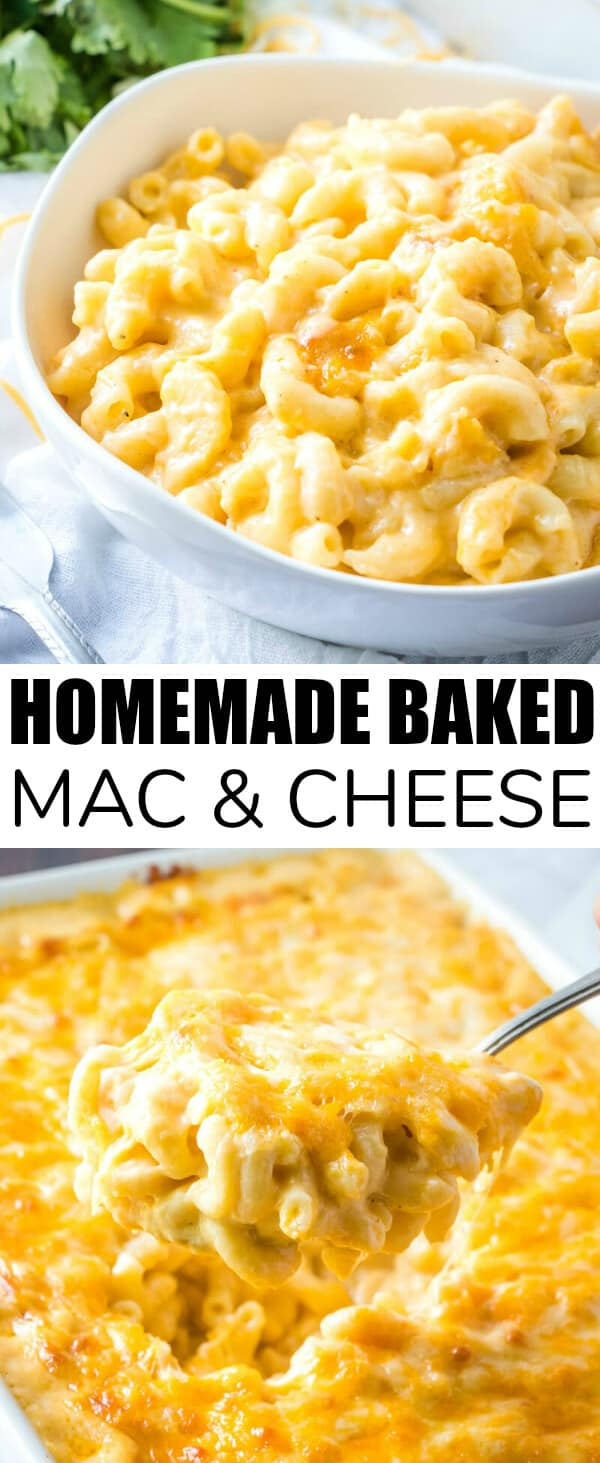 Creamy, cheesy and delicious this Homemade Baked Mac & Cheese is a delicious weeknight dinner recipe that feeds a crowd and is completely addicting. #cheesy #pasta #dinnertime #foodie #macandcheese #creamy #hearty #weeknightmeal