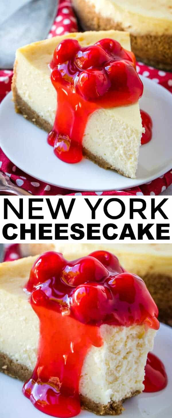 Creamy, smooth, thick and delicious this New York Cheesecake is a perfect addition to your dessert table with minimal ingredients its completely addicting. #cheesecake #newyork #baking #newyorkstyle #creamcheese #cheesecakerecipe #cherry #caramel