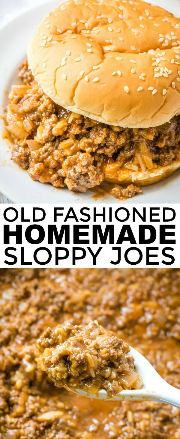 With 5 ingredients these Old Fashioned Homemade Sloppy Joes are a quick and easy dinnertime meal that is a classic favorite for the whole family! #sloppyjoes #sloppyjoerecipe #groundbeef #beef #dinnertime #supper #easydinner #kidfriendly