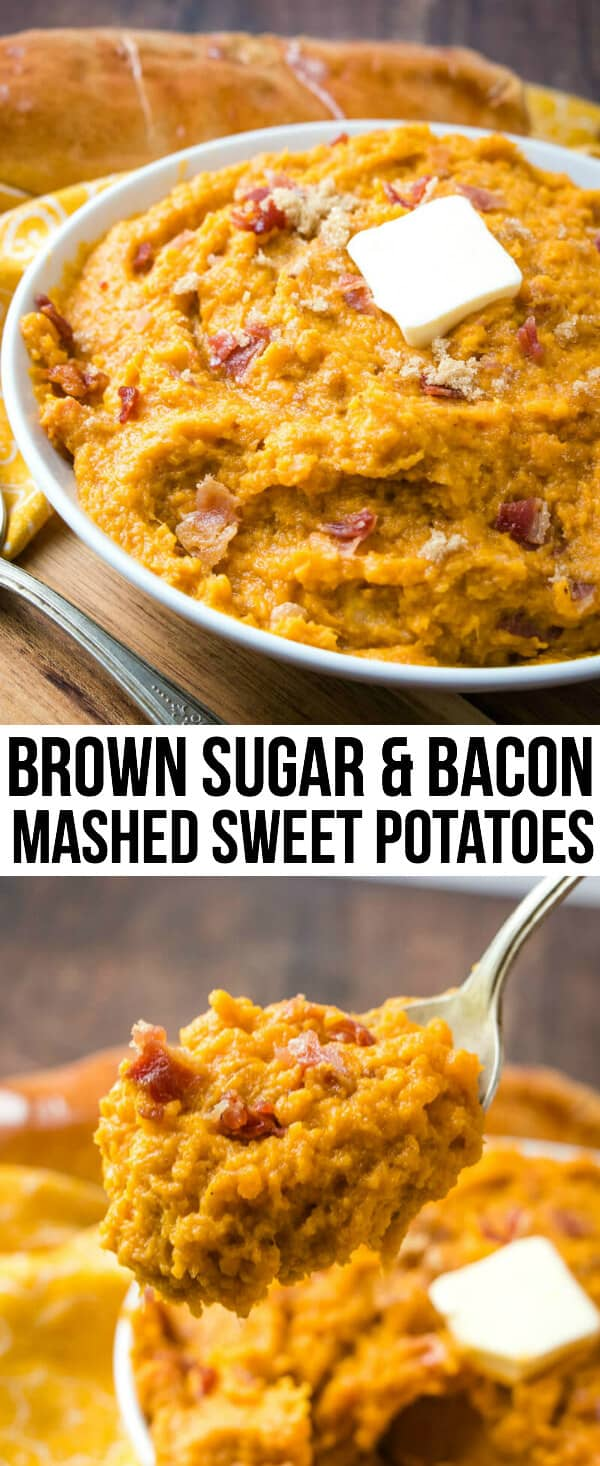 Creamy, sweet with a little bit of salty these Brown Sugar & Bacon Mashed Sweet Potatoes are an addicting and flavorful side dish you cant resist making. #potatoes #holiday #bacon #brownsugar #sweetpotatoes #mashedpotatoes #thanksgiving #christmas #fall #easter