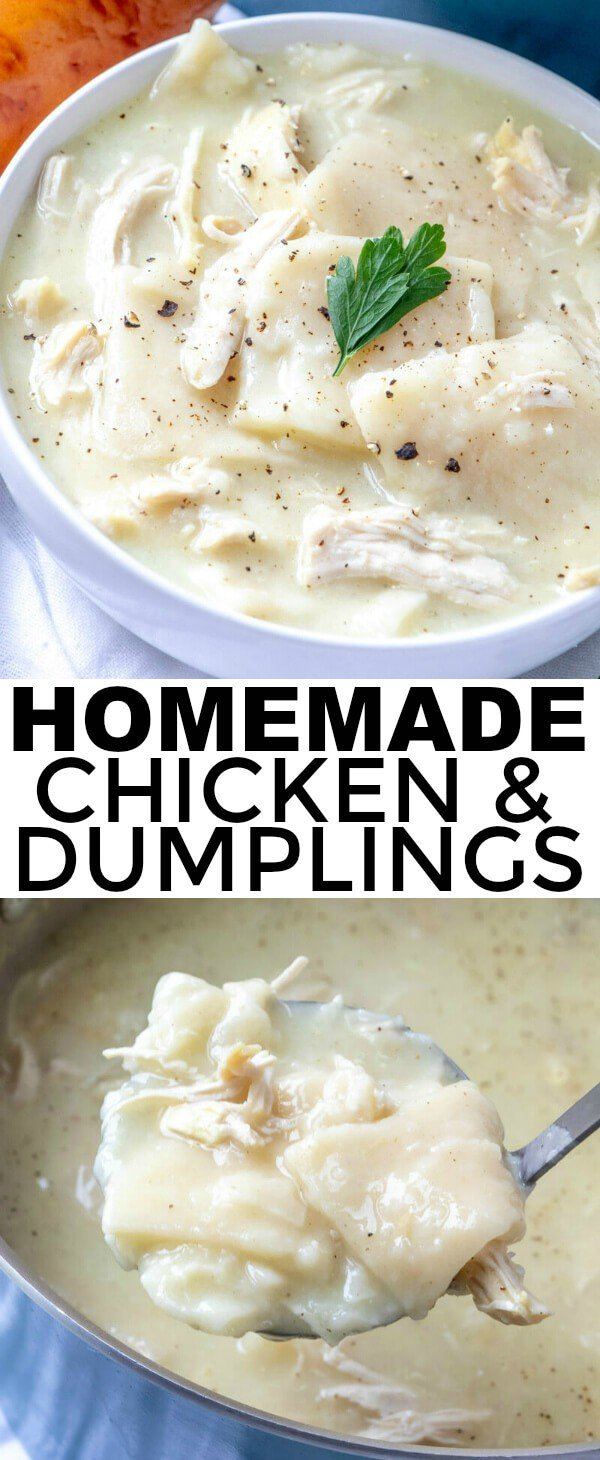 Easy, hearty, classic and addicting these Homemade Chicken and Dumplings are just like how your grandma used to make them! Thick, creamy and delicious! #dumplings #chicken #homestyle #homemade #chickenanddumplings #easyrecipe #comfortfood
