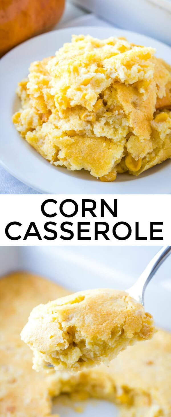 Want the perfect side dish to complement any meal? This easy Corn Casserole has minimal ingredients and whips up in one bowl, perfect for the whole family. #corn #thanksgiving #holiday #sidedish #casserole #jiffy #corncasserole #cornpudding #easyrecipe #easymeal