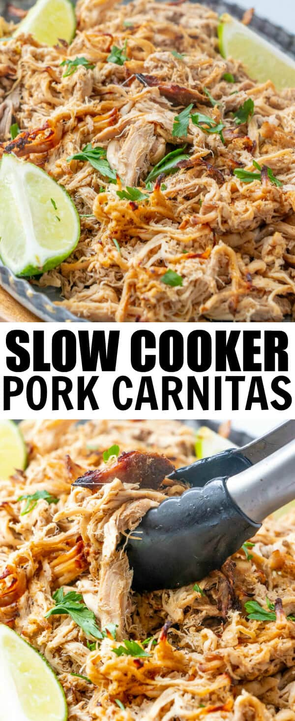 Spicy, tangy and delicious these Slow Cooker Pork Carnitas are a fix it and forget it recipe that feeds a crowd has a little heat and is completely addicting. #slowcooker #crockpot #pork #mexican #maindish #tacos