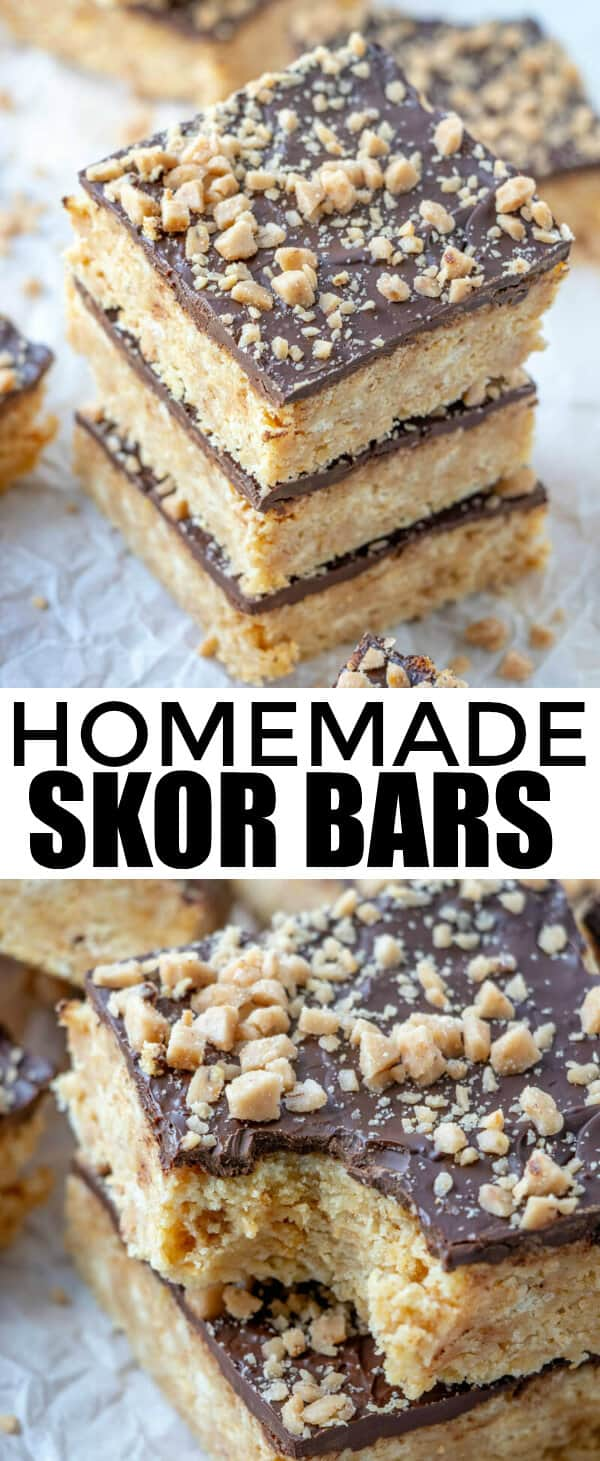 Sweet, salty and super easy these Homemade Skor Bars are a fast fix dessert recipe that has 4 ingredients and whips up in minutes! #bars #dessert #toffee #chocolate #skor #easyrecipe #candybar