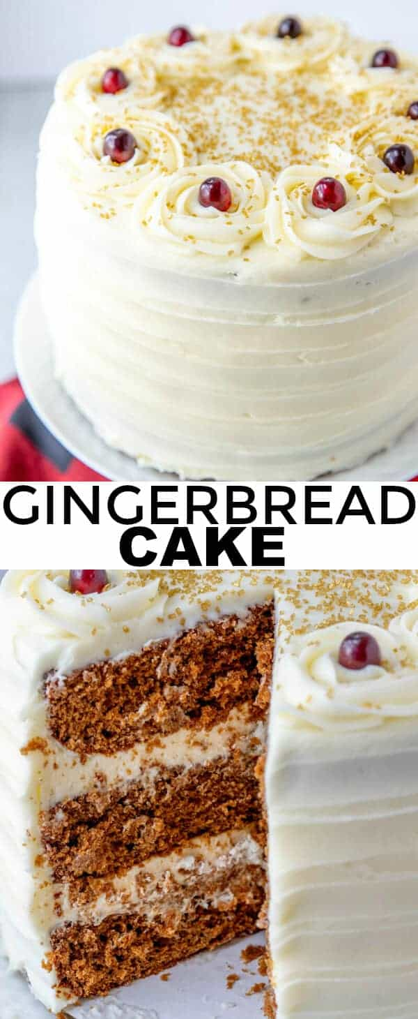 Sweet with a hint of spice this Gingerbread Cake is the perfect dessert for the holidays. 3 layers of utter goodness that you cannot pass up. #cake #gingerbread #molasses #layeredcake #desserts #sweets #tasty #tornadoughalli