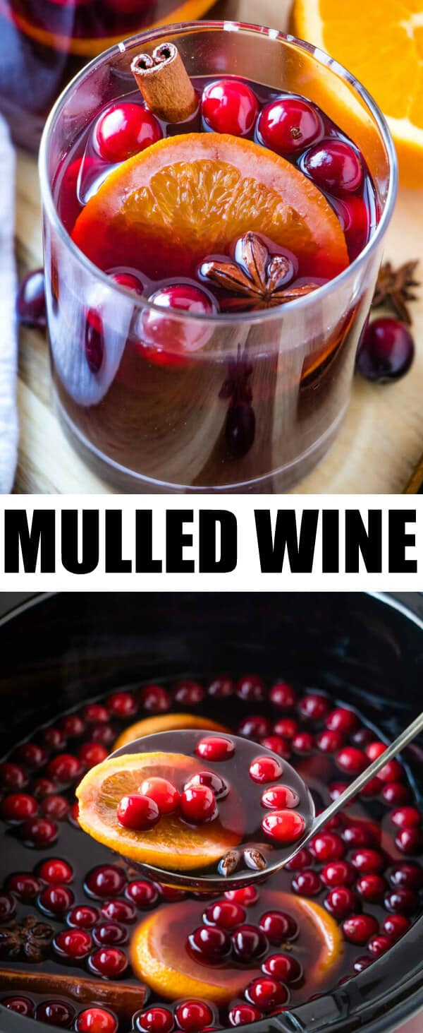 An easy and flavorful holiday drink this Mulled Wine is perfect for your holiday parties with minimal ingredients that go a long way! #wine #slowcooker #mulledwine #applecider #oranges #cranberries #drinks #holiday