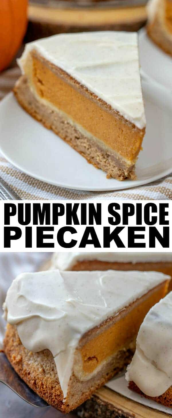 When it comes to holiday desserts we love a show stopper! This Pumpkin Spice Piecaken recipe is easy, flavorful and absolutely amazing, you have to make it! #pumpkin #spice #pumpkinspice #cake #pie #piecaken #tornadoughalli #dessert #holidays #baking #easyrecipe