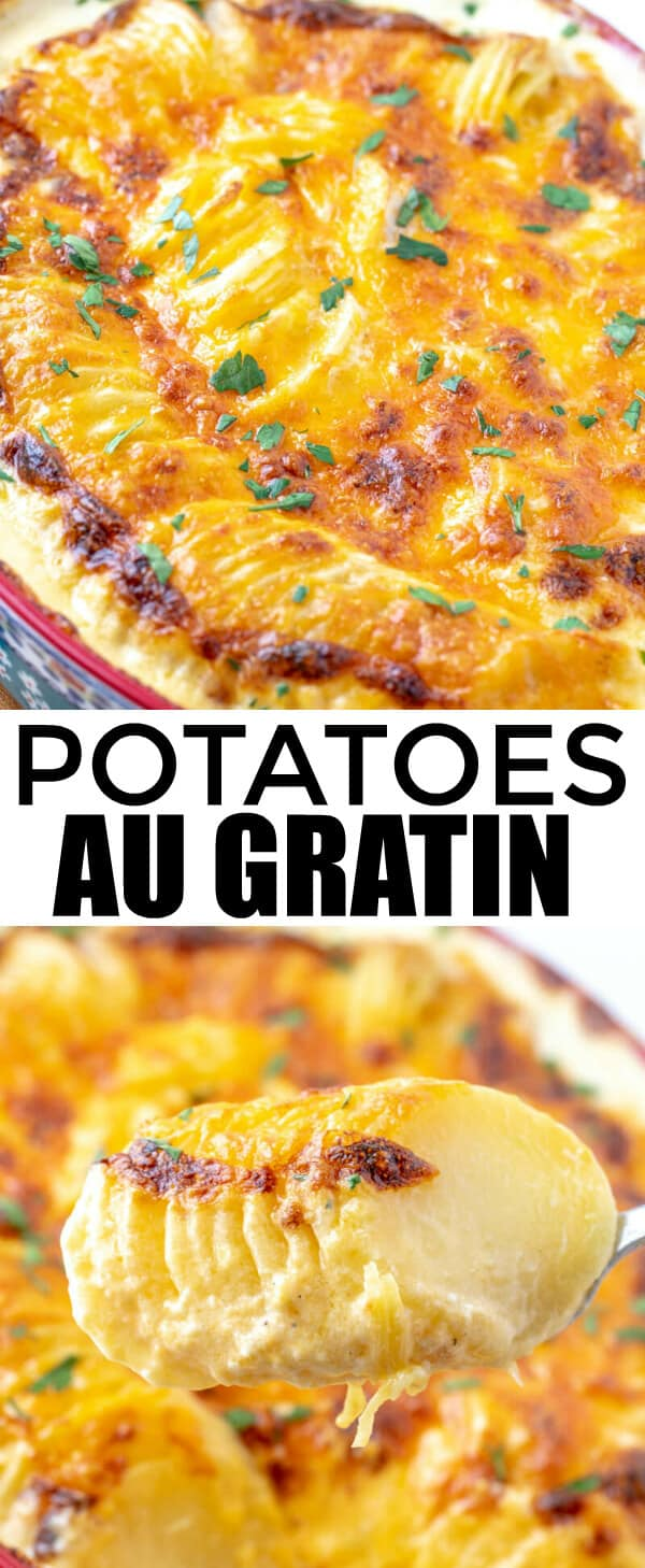 Creamy, cheesy and the perfect side these Potatoes Au Gratin are the perfect addition to any meal and feed a crowd with minimal ingredients. #potatoes #cheesy #recipe #sidedish #tornadoughalli #cheesypotatoes #easyrecipe