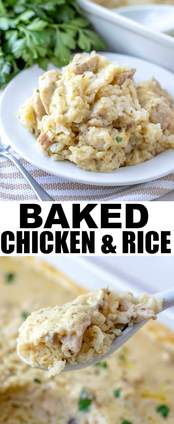 Want something addicting, full of flavor and a family favorite that everyone will love? This Baked Chicken and Rice is a perfect solution for the weeknight dinner rut. #chicken #dinnertime #recipe #chickenandrice #rice #supper #comfortfood
