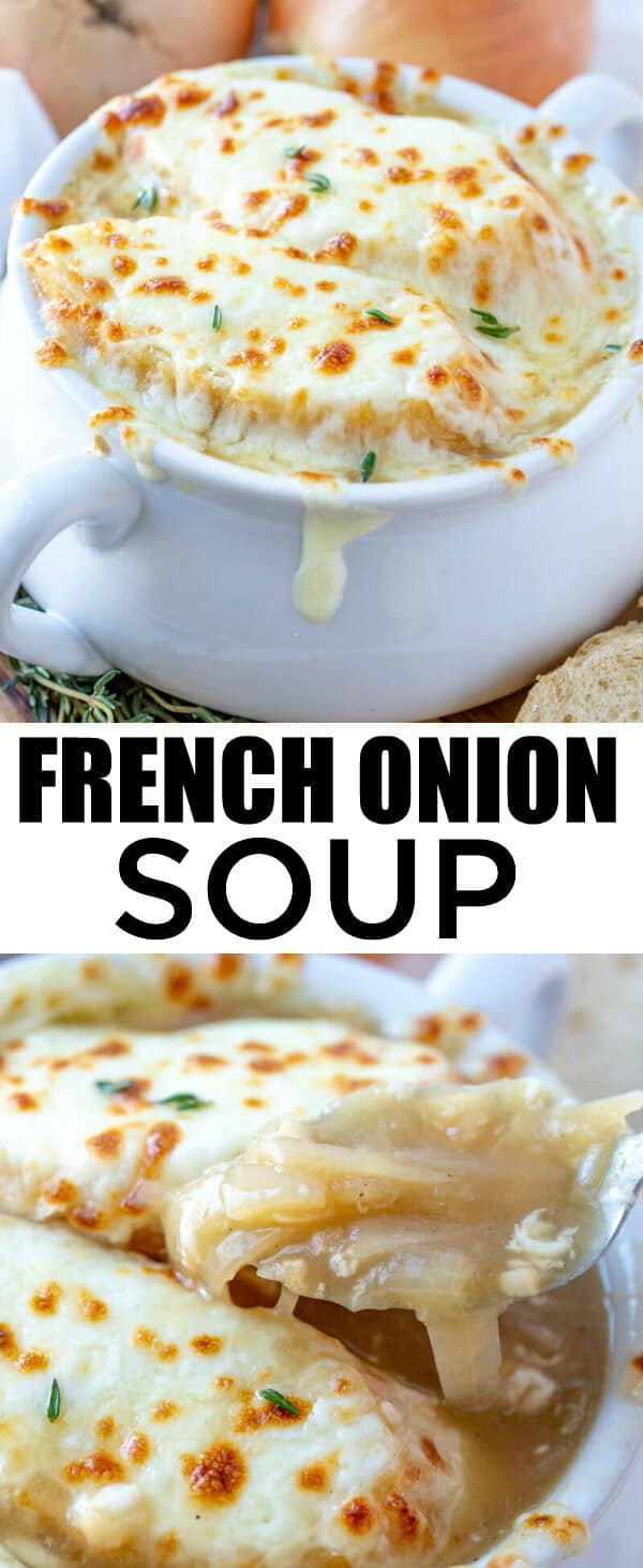Easy, flavorful and comforting this French Onion Soup is a delicious recipe that takes minimal ingredients and absolutely warms your belly to the soul! #soup #frenchonion #cheese #comfort #dinnertime #supper