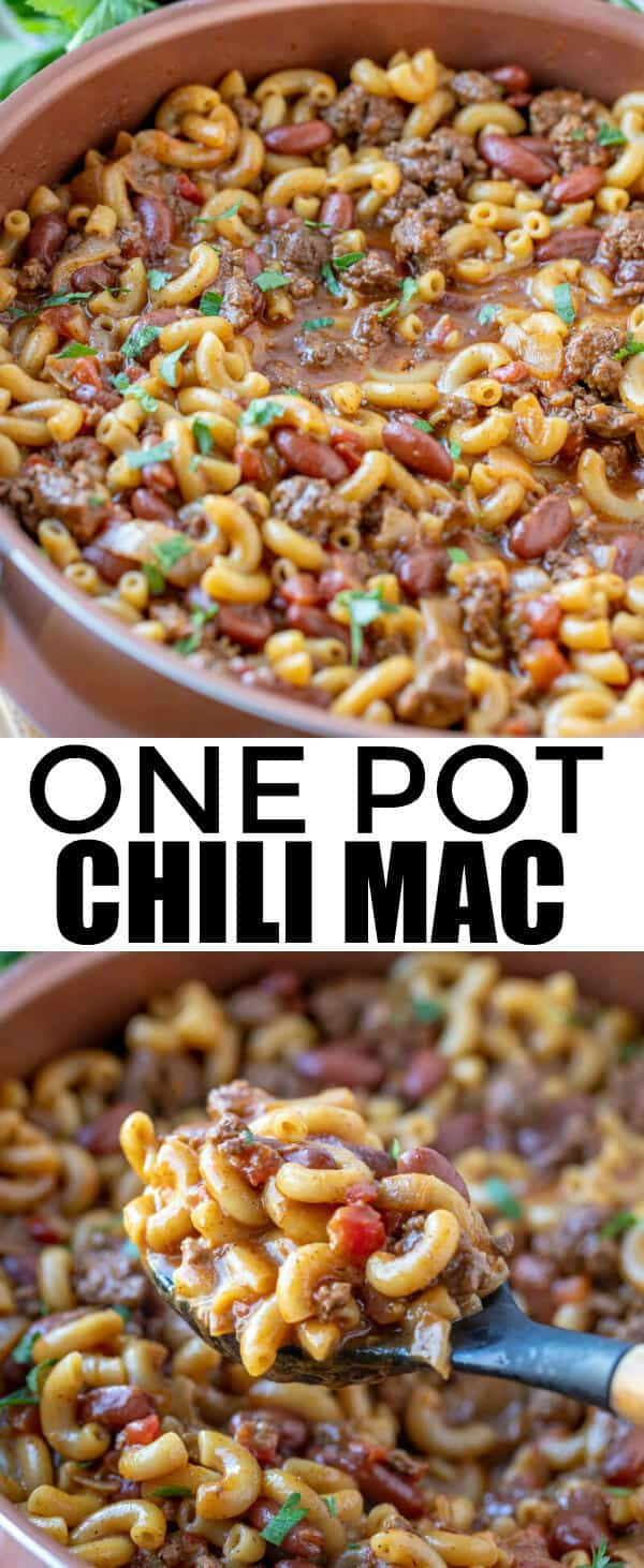 Quick and easy this One Pot Chili Mac is one of our favorite cold weather foods. Merging two of our favorite comfort dishes together in one hearty meal. #onepot #onedish #beef #pasta #macandcheese #chili #comfortfood