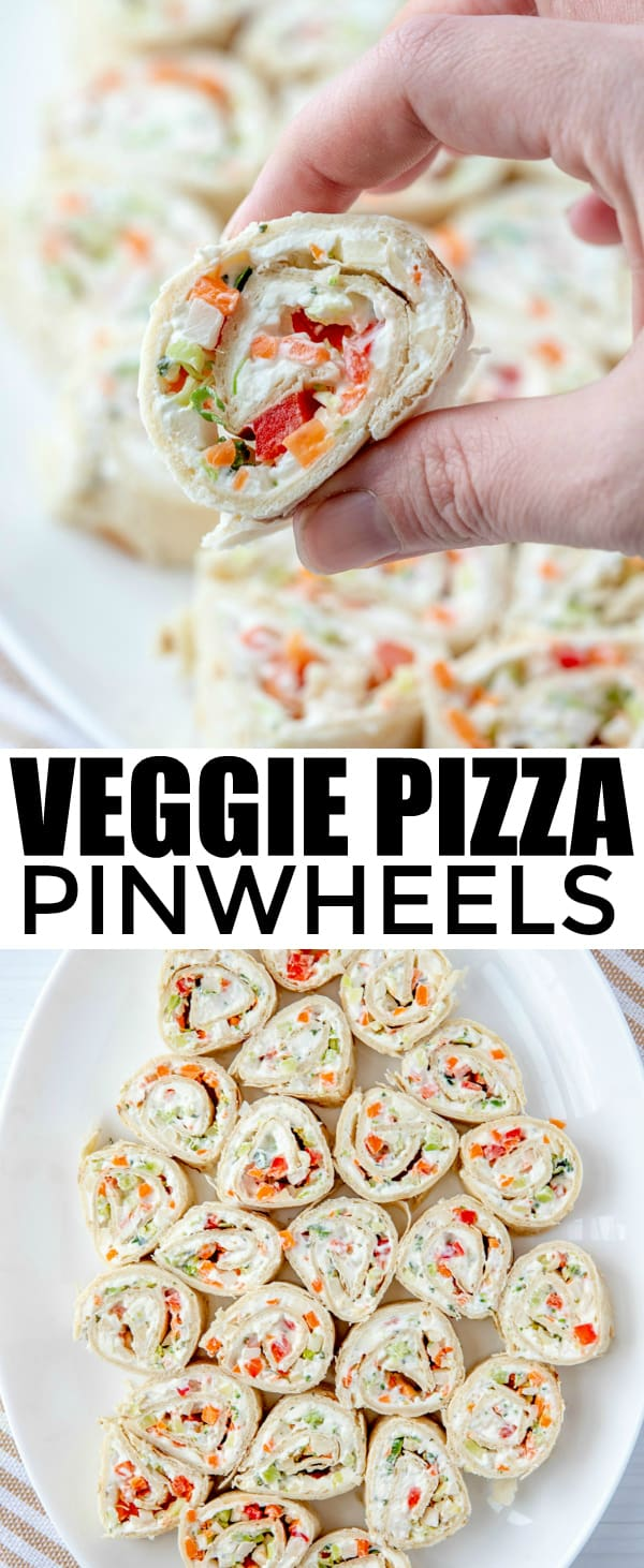 Want the perfect party food that everyone will go nuts for? These Veggie Pizza Pinwheels are full of vegetables and a ranch mixture that makes they irresistible. #appetizer #vegetables #ranch #partyfood #fingerfood #veggies #