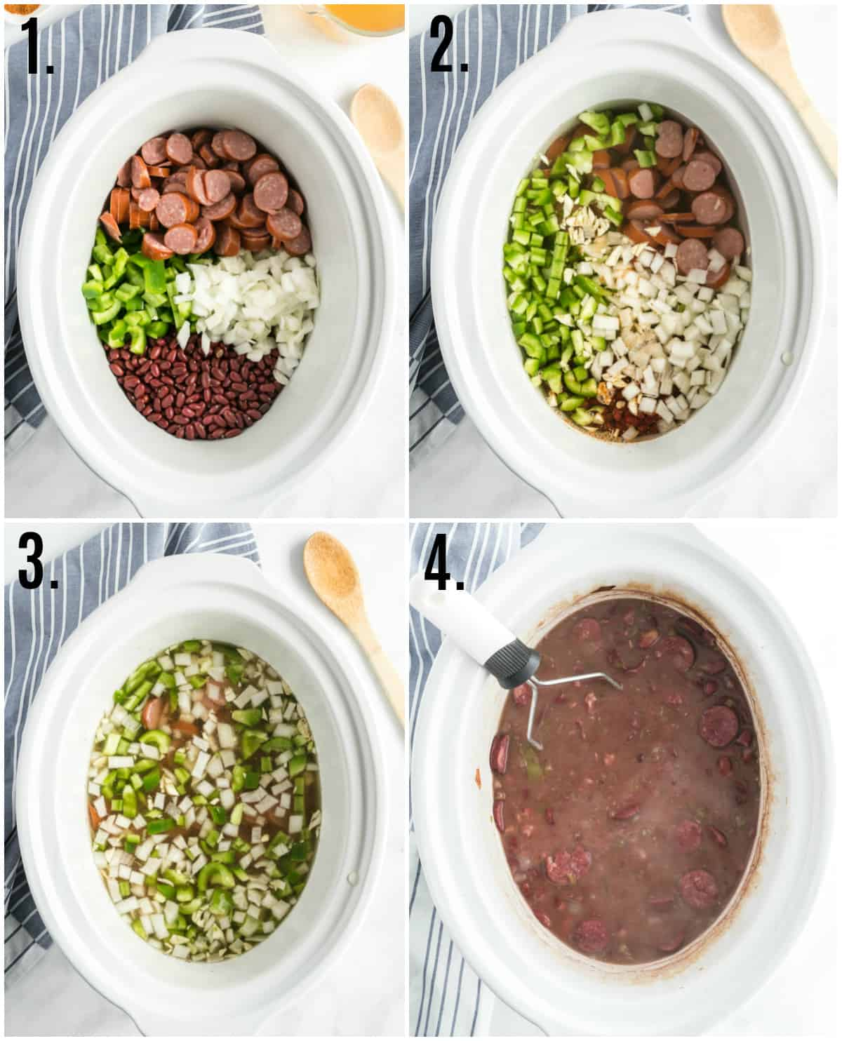 Step by step photos on how to make red beans and rice