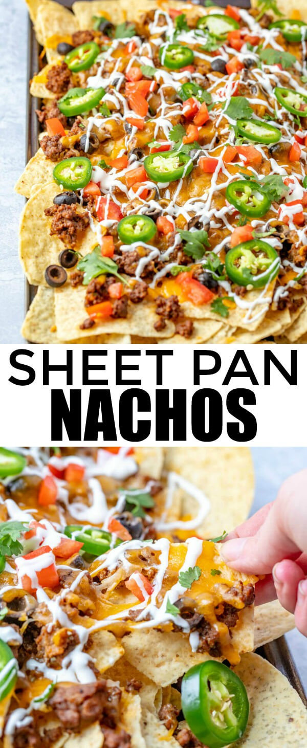 Want a quick and easy lunch, dinner or late night snack? These Sheet Pan Nachos are quick to whip up and feed a crowd, the perfect munchie food! #nachos #beef #mexican #munchies #easyrecipe #quickrecipe #hungry #food