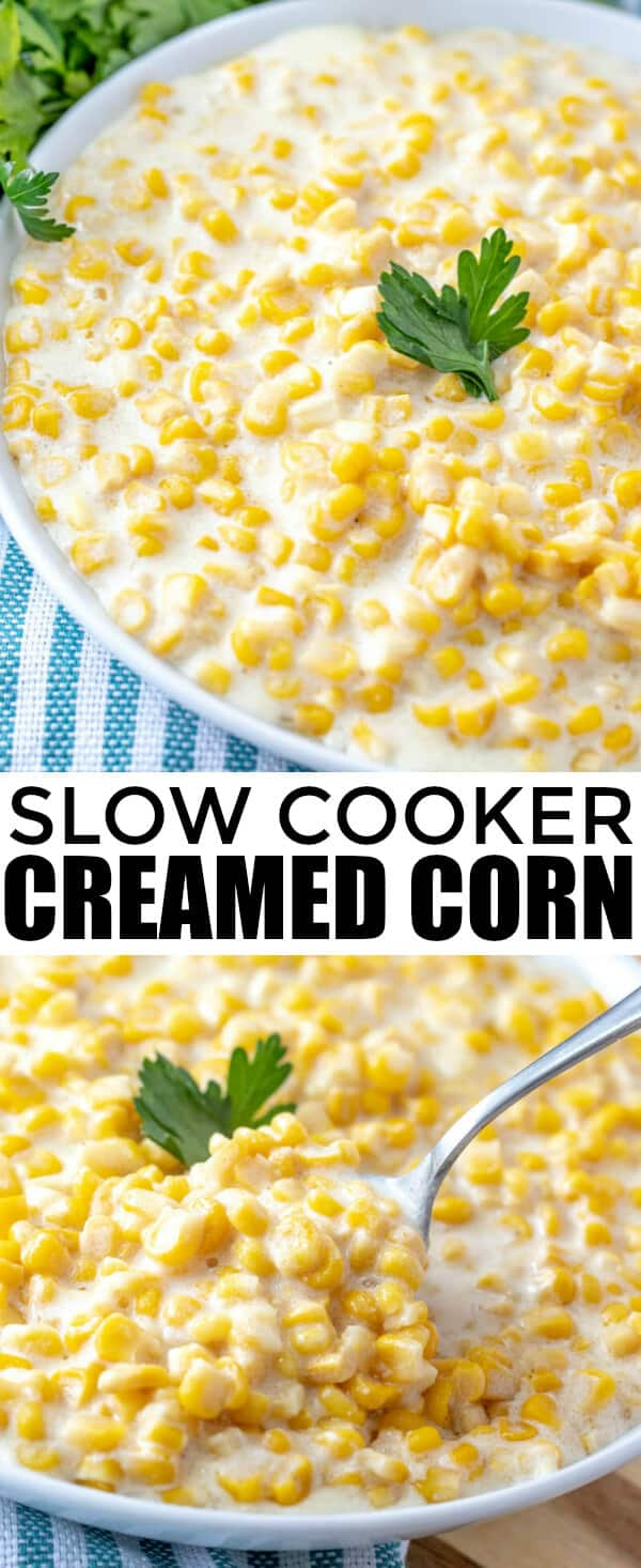 Easy, flavorful and a classic recipe this Slow Cooker Creamed Corn is a family favorite that is only 7 ingredients and is perfect for any time of year. #corn #creamedcorn #slowcooker #crockpot #sidedish #recipe #onepot #fixitandforgetit