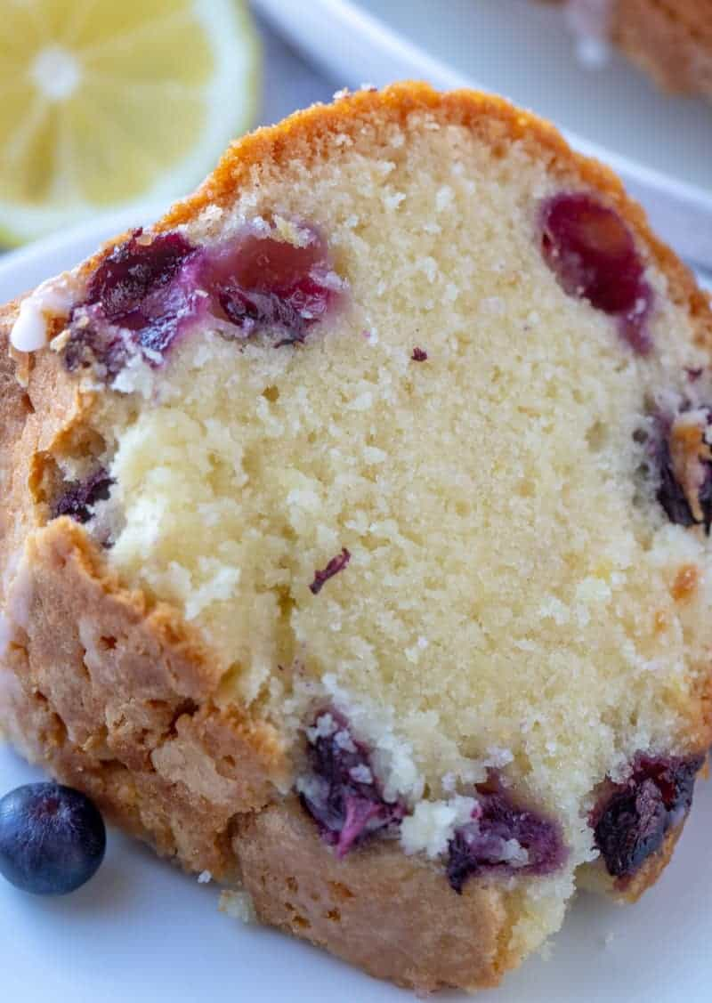 blueberry cake up close on plate