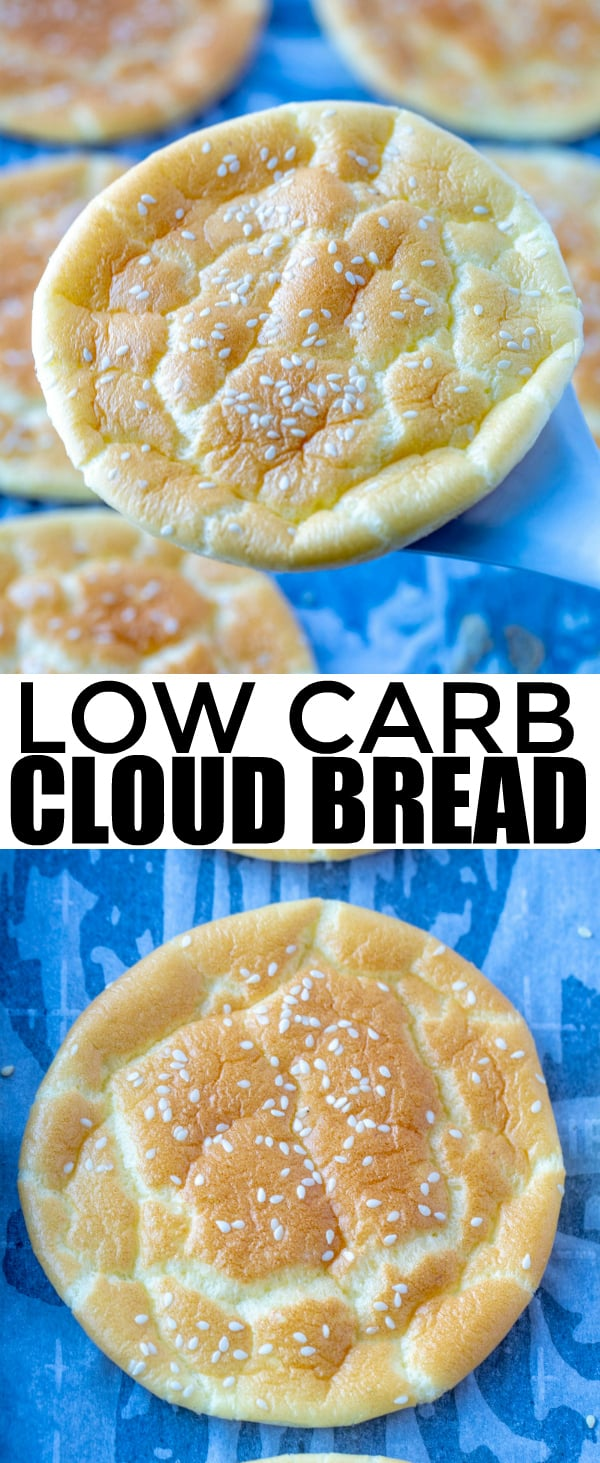 Looking for a low carb bread substitute? This Cloud Bread is the perfect, easy 5 ingredient recipe that whips up quick and is light, fluffy and addicting.