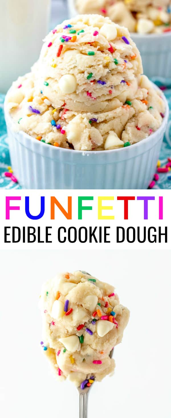 Have a sweet tooth? This quick and easy Funfetti Edible Cookie Dough makes the perfect snack any time of day, minimal ingredients and the kids love it. #cookie #cookiedough #dessert #treats #sweets #kidfriendly #homemade
