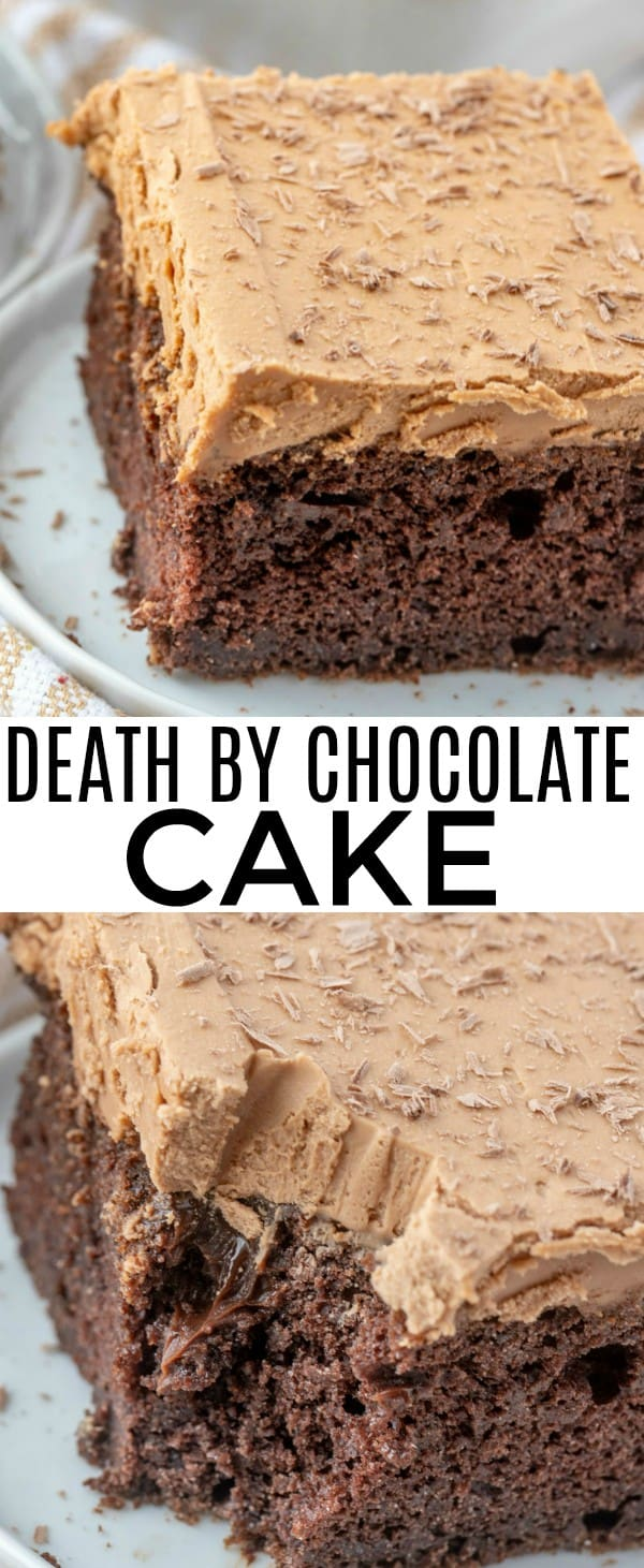 Want rich, delicious, chocolatey goodness? This Death By Chocolate Cake is insanely delicious, chocolate cake, poked and pour with chocolate fudge and topped with a milk chocolate frosting! #cake #deathbychocolate #chocolatecake #desserts #sweets #pokecake #milkchocolate #fudge #baking