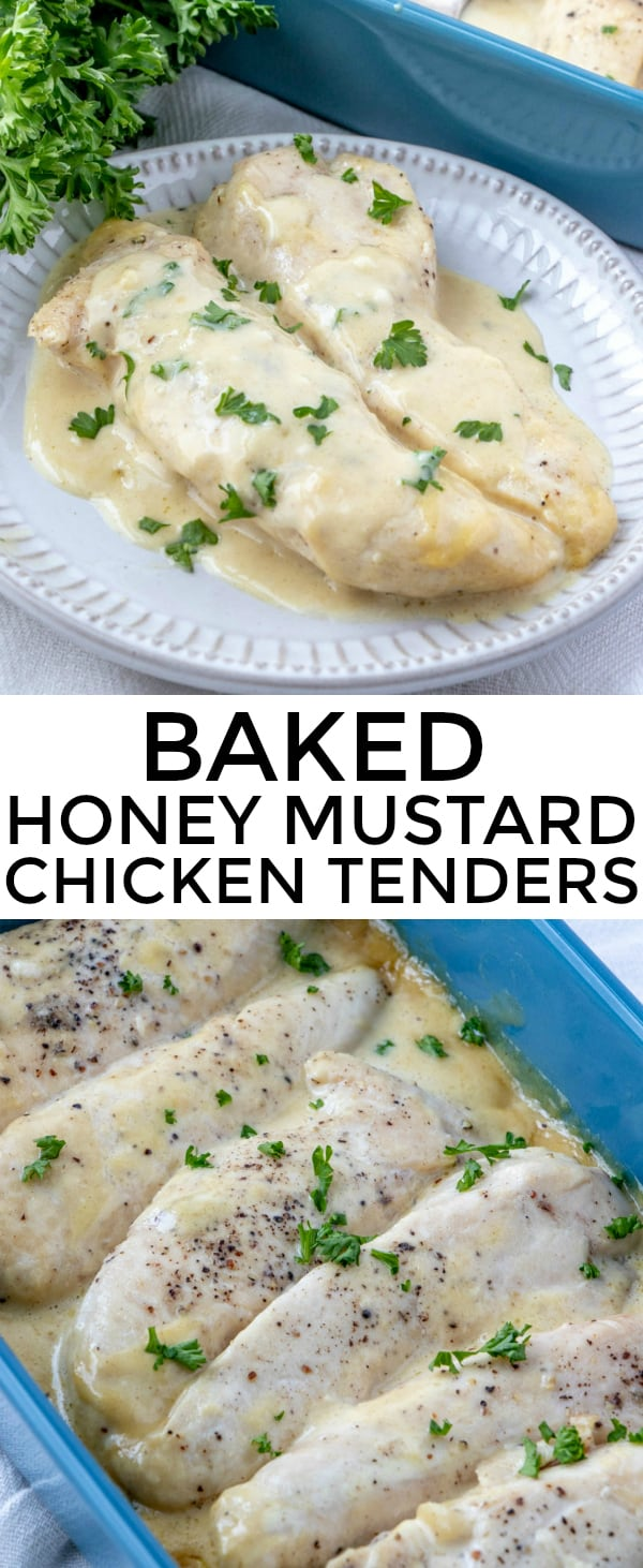 Tender, savory and delicious these Baked Honey Mustard Chicken Tenders are the perfect quick and easy weeknight dinner for the family! #chicken #bakedchicken #recipes #quickmeal #easyrecipe #honeymustard