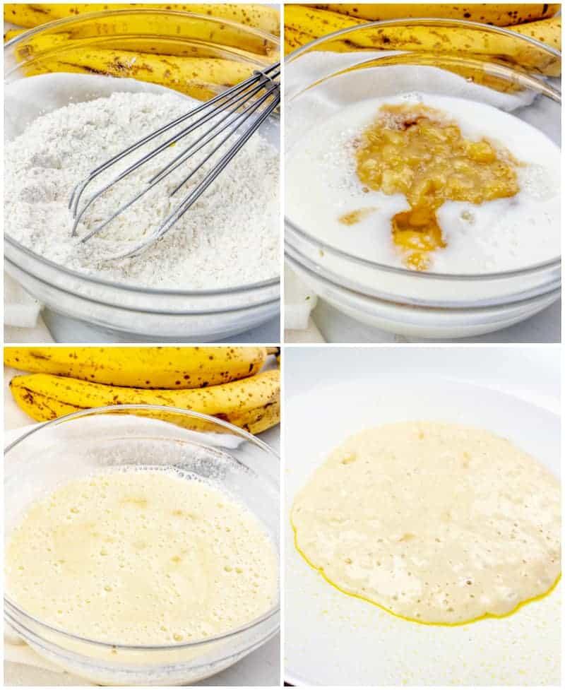 In process shots of banana pancakes