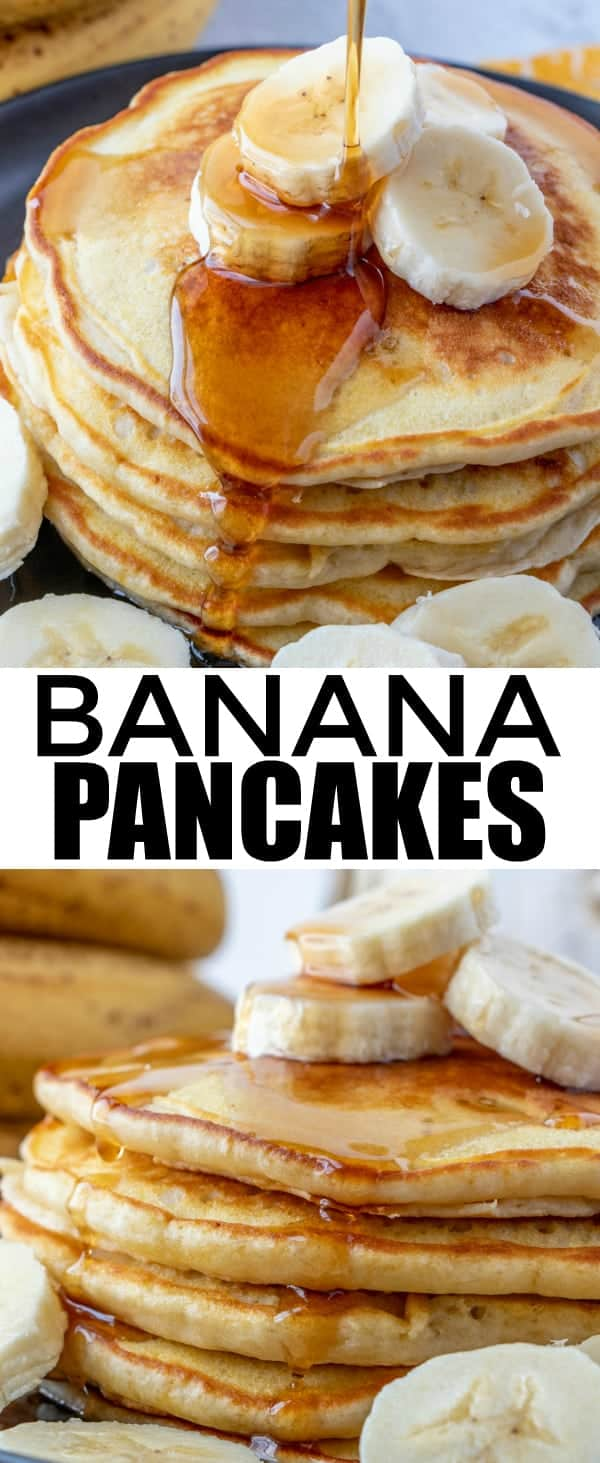 Easy, fluffy and with a hint of banana these Banana Pancakes are a quick and delicious morning time meal that takes minimal ingredients and whips up in a flash. #breakfast #banana #pancakes #brunch #brinner