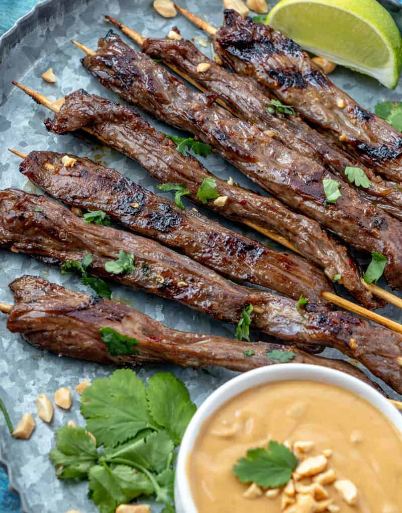Beef Satay on Skewers up close