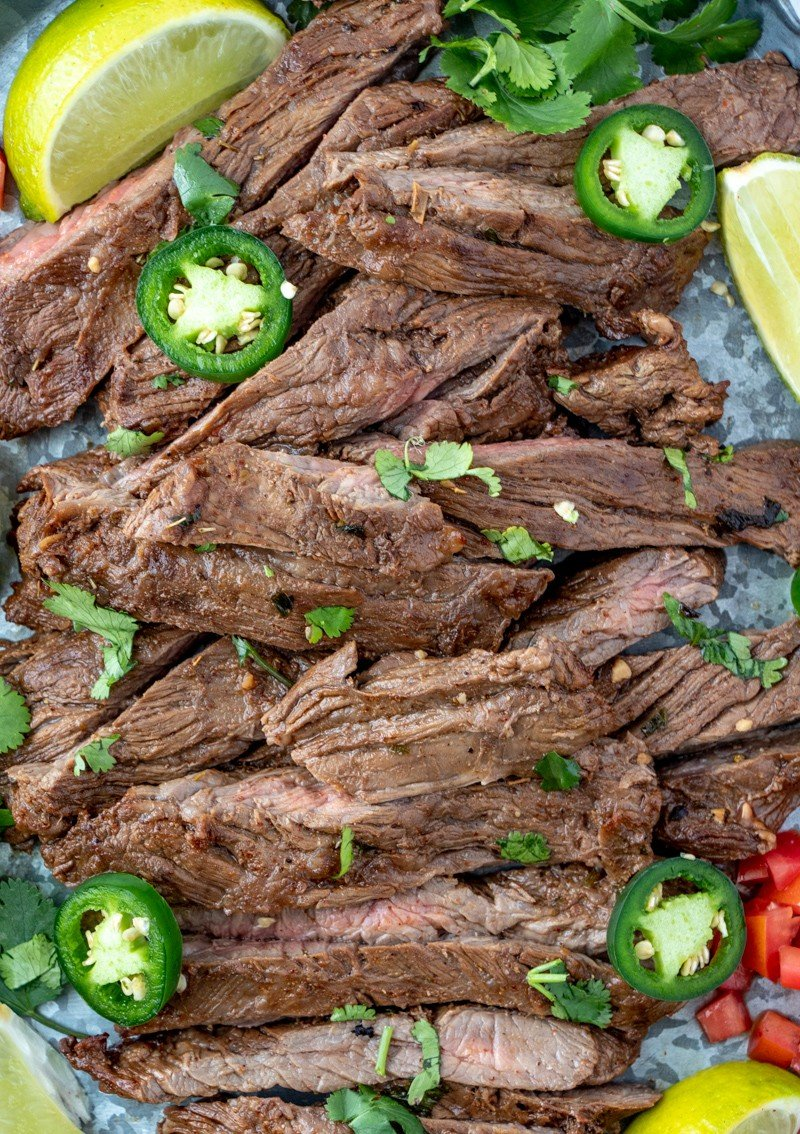 Close up of carne asada on tray
