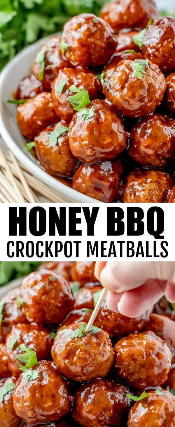 Quick and easy to whip up these Honey BBQ Crockpot Meatballs are minimal ingredients and one of the best party appetizers that feed a crowd. #meatballs #slowcooker #crockpot #easyrecipe #honeybbq #appetizer #partyfood