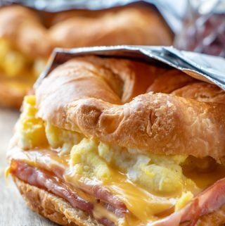 Easy Croissant Breakfast Sandwiches in tinfoil